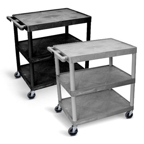 Luxor Utility Cart - Three Shelves Structural Foam Plastic - HE33 (2 Colors Available)