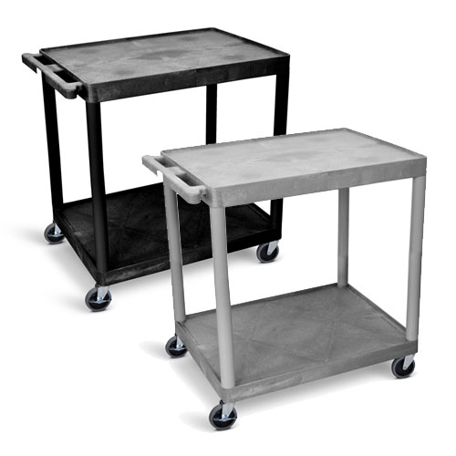 Luxor Utility Cart - Two Shelves Structural Foam Plastic - HE38 (2 Colors Available)