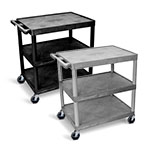 Luxor Utility Cart - 3 Shelves Structural Foam Plastic - HE40 (2 Colors Available) ET10504