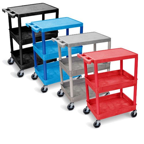 Luxor Flat Top and Tub Middle/Bottom Shelf Cart - STC211 (4 Colors Available)