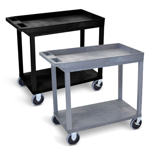 "Luxor 32"" x 18"" Cart - One Tub/One Flat Shelf - Heavy-Duty with 5"" Casters - EC12HD (2 Colors Available)"