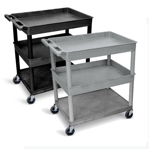 Luxor Large Tub Top/Middle and Flat Bottom Shelf Cart - TC112 (2 Colors Available)
