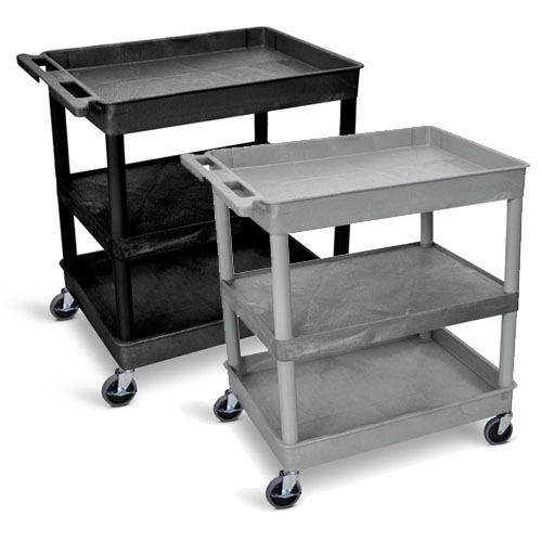 Luxor Large Tub Top/Bottom and Flat Middle Shelf Cart - TC121 (2 Colors Available)