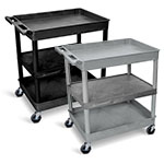 Luxor Large Tub Top/Bottom and Flat Middle Shelf Cart - TC121 (2 Colors Available) ET10516