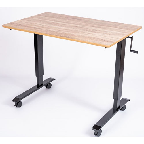 "Luxor 48"" High Speed Crank Adjustable Stand Up Desk - White Oak - STANDCF48-BK/WO"
