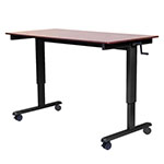 "Luxor 60"" High Speed Crank Adjustable Stand Up Desk - Dark Walnut Top, Black Base - STANDCF60-BK/DW ET10705"