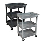 "Luxor 24"" x 18"" Plastic Utility Tub Cart - Three Shelf (2 Colors Available) ET10714"