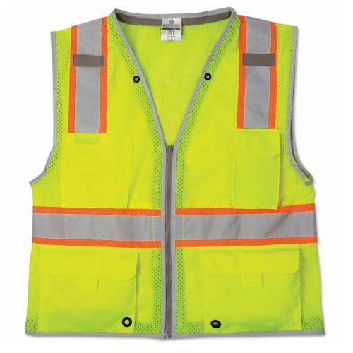 ML KISHIGO Brilliant Series Heavy-Duty Class 2 Safety Vest - Lime (8 Sizes Available)