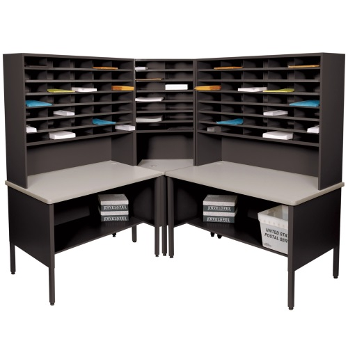 Marvel Mailroom Furniture 84 Slot Corner Literature Organizer with Shelf (3 Colors Available)