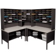 Marvel Mailroom Furniture 84 Slot Corner Literature Organizer with Shelf (3 Colors Available) ES9253