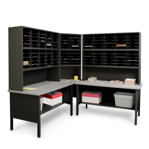 Marvel Mailroom Furniture 120 Slot Corner Literature Organizer with Shelf (3 Colors Available)