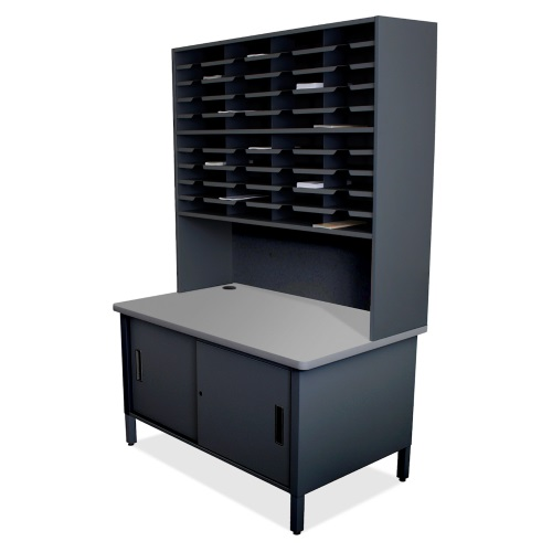 Marvel Mailroom Furniture 40 Slot Literature Organizer with Cabinet and 48 Fixed Shelf (3 Colors Available)
