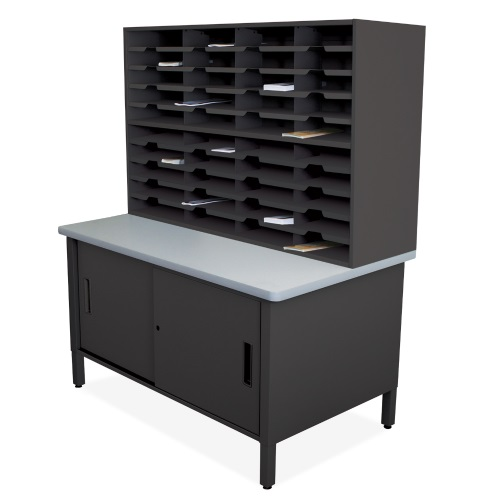 Marvel Mailroom Furniture 40 Slot Literature Organizer with Cabinet - Without Riser (3 Colors Available)