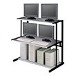 "Mayline NetStart LAN Support Series 48"" LAN Station 11148 (Charcoal Frame, Light Gray Shelves) ES1340"