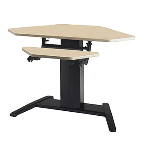 "Mayline E Series 42"" x 30"" Corner Dual Surface with Data Center Height Adjustable Desk - Speckled Gray Matrix Top - 650W"
