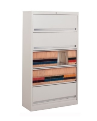 Mayline FFD5 - High Density Flip 'N File 5 Tier Cabinet with Doors ES6627