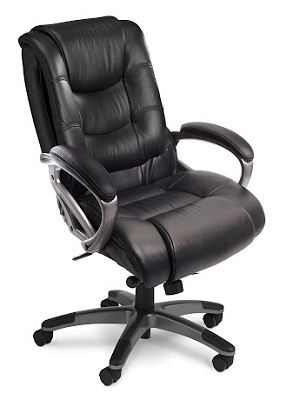 Mayline Ultimo Leather Series 500 EZ-Assemble Mid-Back Chair UL530MEZBLK