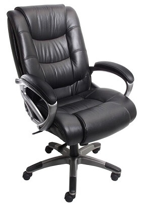 Mayline Ultimo Leather Series 500 EZ-Assemble High-Back Chair UL550HEZBLK