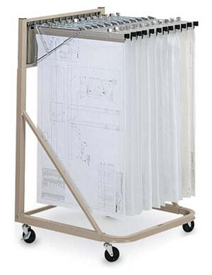 "Mayline Rolling Stand Bundle with 12 Hangers and 24"" Clamps 9322D5 (Sand Beige)"