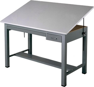 Mayline Economy Ranger Steel Four-Post Drafting Table with Tool & Plan Drawers