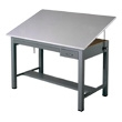 "Mayline 7726B Economy Ranger Steel Four-Post Drafting Table with Tool & Plan Drawers, 60"" W x 38.5"" D (Medium Tone Base, Fog Gray Top) ES4450"