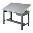 "Mayline 7726A Economy Ranger Steel Four-Post Drafting Table with Tool Drawer, 60"" W x 38.5"" D (Medium Tone Base, Fog Gray Top) ES4451"