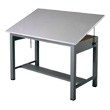 "Mayline 7726 Economy Ranger Steel Four-Post Drafting Table, 60"" W x 38.5"" D (Medium Tone Base, Fog Gray Top) ES4452"