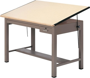 "Mayline 7734B Ranger Steel Four-Post Drafting Table with Tool & Plan Drawers, 48"" W x 37.5"" D (Desert Sage Base, Birch Top)"