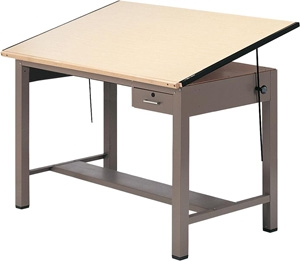 "Mayline 7732A Ranger Steel Four-Post Drafting Table with Tool Drawer, 42"" W x 30"" D (Desert Sage Base, Birch Top)"