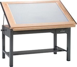 "Mayline Ranger Steel Four-Post Light Table, 48"" W x 37.5"" D 7734BLT"
