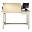 "Mayline 7772A Ranger Steel Four-Post Split-Top Drafting Table with Tool Drawer, 60"" W x 30"" D (White Base, Birch Top) ES6204"