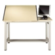 "Mayline 7773 Ranger Steel Four-Post Split-Top Drafting Table, 72"" W x 30"" D (White Base, Birch Top) ES6205"