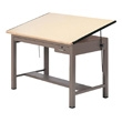"Mayline 7739B Ranger Steel Four-Post Drafting Table with Tool & Plan Drawers, 84"" W x 43.5"" D (Desert Sage Base, Birch Top) ES6209"