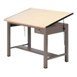 "Mayline 7739A Ranger Steel Four-Post Drafting Table with Tool Drawer, 84"" W x 43.5"" D (Desert Sage Base, Birch Top) ES6214"