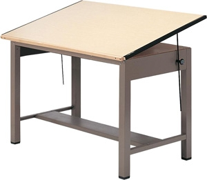"Mayline 7736 Ranger Steel Four-Post Drafting Table, 60"" W x 37.5"" D (Desert Sage Base, Birch Top)"