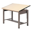 "Mayline 7739 Ranger Steel Four-Post Drafting Table, 84"" W x 43.5"" D (Desert Sage Base, Birch Top) ES6219"
