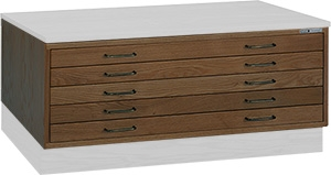 "Mayline Wood Plan File Five-Drawer Unit for 36"" x 48"" Documents 7719C"