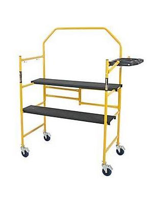 MetalTech I-IMCNT - Jobsite Series 4' Folding Scaffold with Tool Shelf and Safety Rail