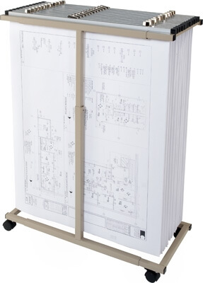 "Premium Brand Mobile Plan Center Blueprint Rack MV1230 Bundle (includes Dozen 30"" Clamps)"