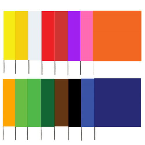 "Presco 2315 - Plain Color 2x3 Flag and 15"" Wire Staff Marking Flags (1000 Count)"