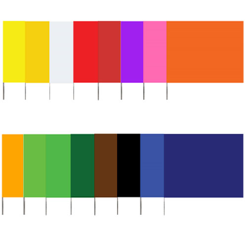 "Presco 4515 - Plain Color 4 x 5 Flag and 15"" Wire Staff Marking Flags (1000 Count) ES7386"