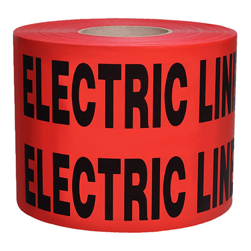 "Presco B6104R6 - Red Caution Buried Electric Line Below Tape 4 MIL, 6"" x 1000' (Case of 4)"