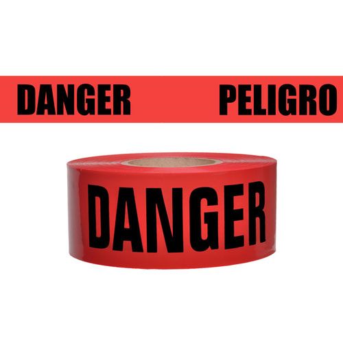Presco Standard Red 2 mil DANGER/PELIGRO Barricade Tape 3 x 1000 - B3102R174 (Case of 8 Rolls)