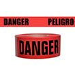 "Presco Standard Red 2 mil DANGER/PELIGRO Barricade Tape 3"" x 1000' - B3102R174 (Case of 8 Rolls) ES9624"