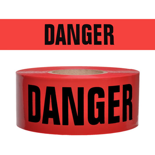 Presco Standard Red 2 mil DANGER Barricade Tape 3 x 1000 - B3102R21 (Case of 8 Rolls)