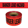 "Presco Standard Red 2 mil DANGER LEAD HAZARD Barricade Tape 3"" x 1000' - B3102R671 (Case of 8 Rolls) ES9626"