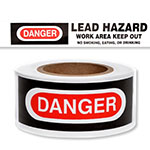 "Presco Standard 2 mil Danger Lead Hazard Barricade Tape 3"" x 1000' - B3102W2879 (Case of 8 Rolls) ES9804"