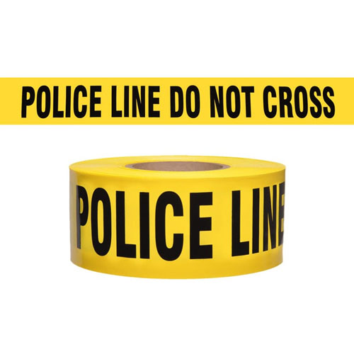 "Presco Standard Yellow 2 mil POLICE LINE DO NOT CROSS Barricade Tape 3"" x 1000' - B3102Y11 (Case of 8 Rolls)"