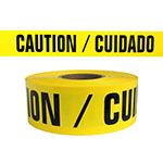 "Presco Standard Yellow 2 mil CAUTION/CUIDADO Barricade Tape 3"" x 1000' - B3102Y13 (Case of 8 Rolls) ES9806"
