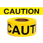 "Presco Standard Yellow 2 mil CAUTION Barricade Tape 3"" x 1000' - B3102Y16 (Case of 8 Rolls) ES9807"